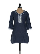 Navy Blue Printed Kurti - Needle Value