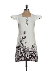 Cream And Brown Kurti With Cap Sleeves - Needle Value