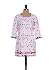 White And Pink Polka-Dotted Kurti - Needle Value