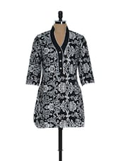 Black And White Floral Kurti - Needle Value