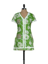 Parrot Green And White Floral Kurti - Needle Value
