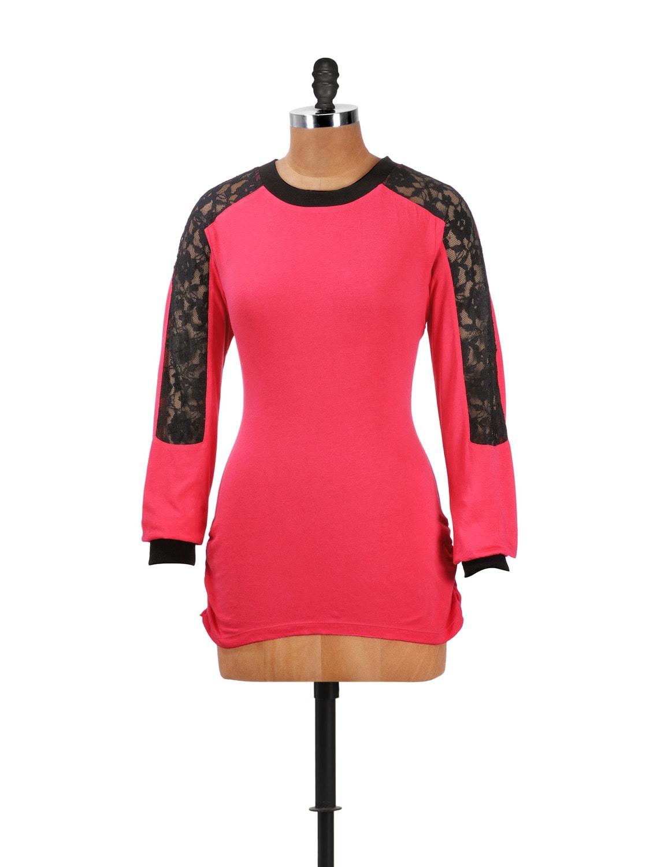 Pink Jersey Lace Top - CHERYMOYA