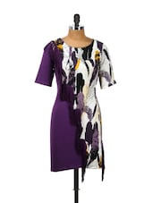 Purple Feather Print Dress - CHERYMOYA