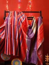 Red And Purple Bhagalpuri Silk Saree - RiniSeal