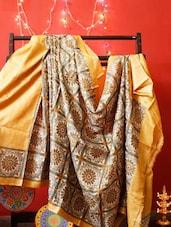 Yellow And Brown Tussar Silk Saree - RiniSeal