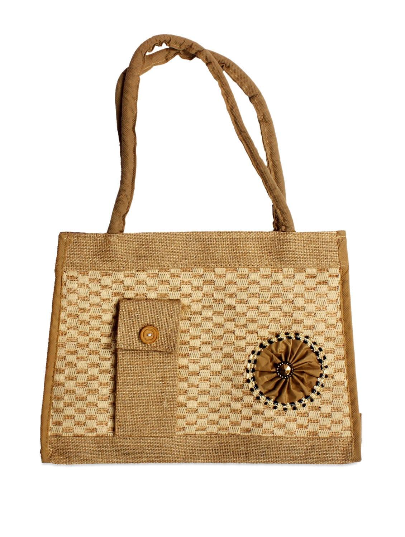 Stylish Brown Jute Tote Bag With A Side Pocket - Pulpypapaya