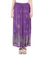Jaipuri Cut Purple Maxi Skirt - Ruhaan's