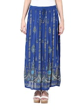 Jaipuri Cut Egyptian Blue Maxi Skirt - By