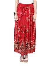Jaipuri Print Red Maxi Skirt - Ruhaan's