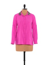 Pink Shirt With Shimmering Collar With Camisole - URBAN RELIGION