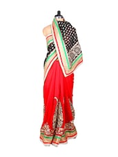 Red And Black Jacquard And Georgette Sari With Zari Embroidery, With A Matching Blouse Piece - Saraswati