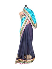 Sky Blue And Greyish Blue Jacquard And Georgette Saree With Zari Embroidery, With A Matching Blouse Piece - Saraswati