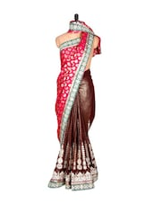 Brown And Red Glossy Viscose Blend Sari With Prints And Thread Work, With A Matching Blouse Piece - Saraswati