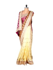 Cream, Brown And Purple Jacquard And Net Saree With Prints And Tread Work, With A Matching Blouse Piece - Saraswati