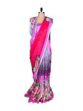 Pink And Mauve Floral Art Silk Saree, With Matching Blouse Piece - Saraswati