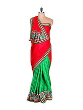 Red And Green Half & Half Art Silk Saree, With Matching Blouse Piece - Saraswati