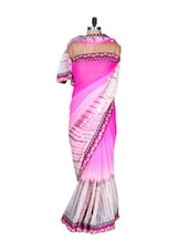 Pretty Pink And White Art Silk Saree, With Matching Blouse Piece - Saraswati