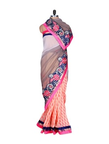 Peach And Pink Elegant Art Silk Saree, With Matching Blouse Piece - Saraswati