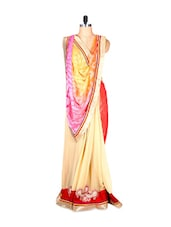 Red And Cream Art Silk Printed With Thread Work And Multi-coloured Aanchal, With Matching Blouse Piece - Saraswati