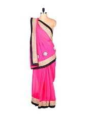 Pretty Pink Art Silk Saree With Thread Embroidery And Black And Golden Border, With Matching Blouse Piece - Saraswati