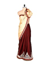 Cream And Crimson Art Silk Saree With Thread Embroidery Work, With Matching Blouse Piece - Saraswati
