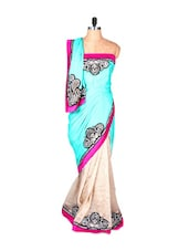 Sky Blue And Off-white Art Silk Saree With Thread  Embroidery Work, With Matching Blouse Piece - Saraswati