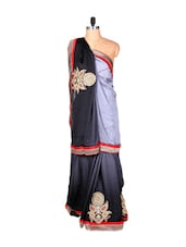 Black And Grey Art Silk Saree With Thread Embroidery Work, With Matching Blouse Piece - Saraswati
