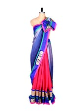 Blue And Pink Art Silk Saree With Thread Embroidery, With Matching Blouse Piece - Saraswati