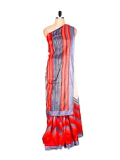 Red And Off-white Bhagalpuri Art Silk Saree, With Matching Blouse Piece - Saraswati