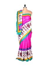 Multi-coloured Bhagalpuri Silk Saree In Printed Fabric, With Matching Blouse Piece - Saraswati
