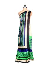 Green, Cream And Black Bhagalpuri Art Silk Saree In Printed Fabric, With Matching Blouse Piece - Saraswati