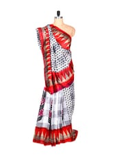 White And Red Bhagalpuri Art Silk Printed Fabric Saree, With Matching Blouse Piece - Saraswati