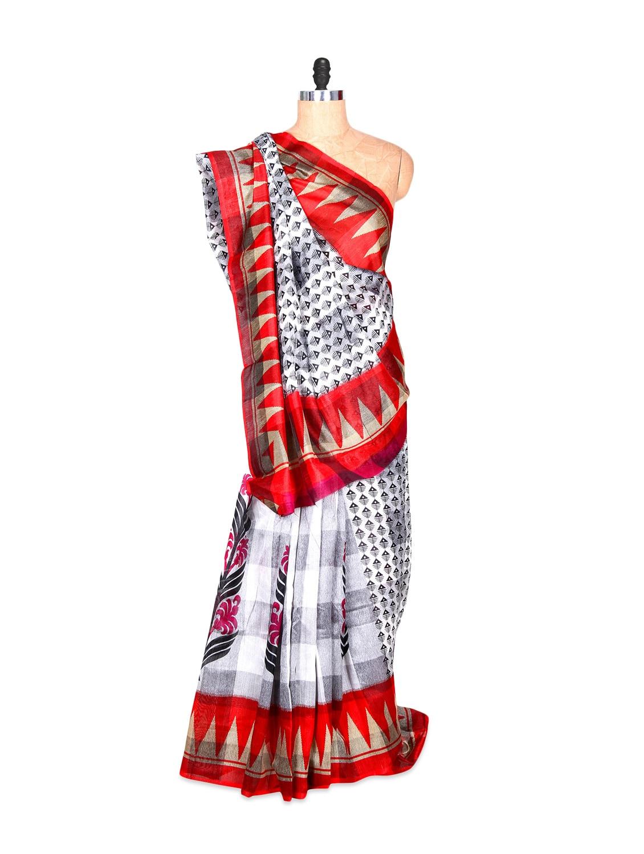 White And Red Bhagalpuri Art Silk Printed Fabric Saree, With Matching Blouse Piece - Saraswati