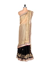 Cream, Golden And Black Silk Saree With Thread Embroidery Work, With Matching Blouse Piece - Saraswati