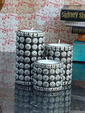 Stunning Set Of Three Cylindrical Candle Stand - ECraftIndia