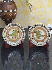 Fantastic Parrot Design Set Of Two Marble Decorative Plates - ECraftIndia