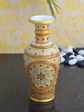 Gold Painted Marble Flower Vase - ECraftIndia
