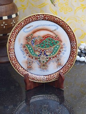 Decorative Plate With Dancing Peacock - ECraftIndia