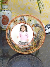 Embossed Round Photo Frame With Peacock And Ragini - ECraftIndia