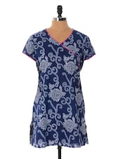 Blue Printed Short Kurti - Cotton Curio