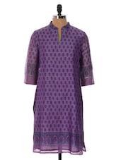 Purple Printed Kurti - Cotton Curio