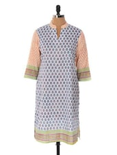Off-white And Peach Printed Kurta - Cotton Curio