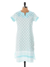 Blue And White Printed Kurta - Cotton Curio