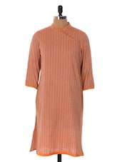 Elegant Peach Striped Kurta - Cotton Curio