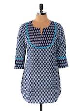 Blue And White Printed Kurti - Cotton Curio
