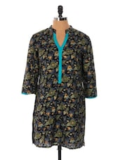 Black Base Kurti With Green And Blue Floral Prints - Cotton Curio