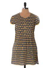 Royal Blue And Yellow Printed Kurta - Cotton Curio