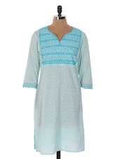 Sky Blue Printed Long Kurta - Cotton Curio