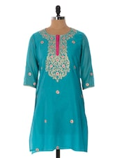 Sky Blue Kurta With Gold Embroidery - Cotton Curio