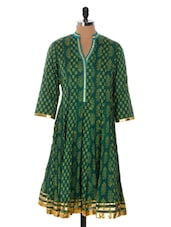 Deep Green Flared Kurta With Gold Hem - Cotton Curio
